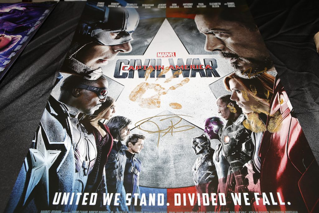 Captain America: Civil War Poster signed and handprinted by Robert Downey Jr. and Jeremy Renner
