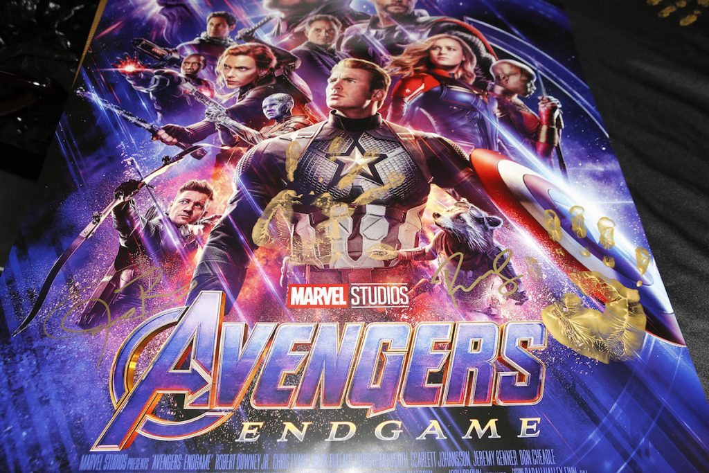 Avengers: Endgame Poster signed and handprinted by Robert Downey Jr. and Jeremy Renner