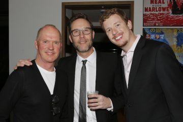Michael Keaton, Michael Rosenbaum of Inside of You with Michael Rosenbaum Podcast, and host Byron Burton at the Aiding Australia Charity Event.