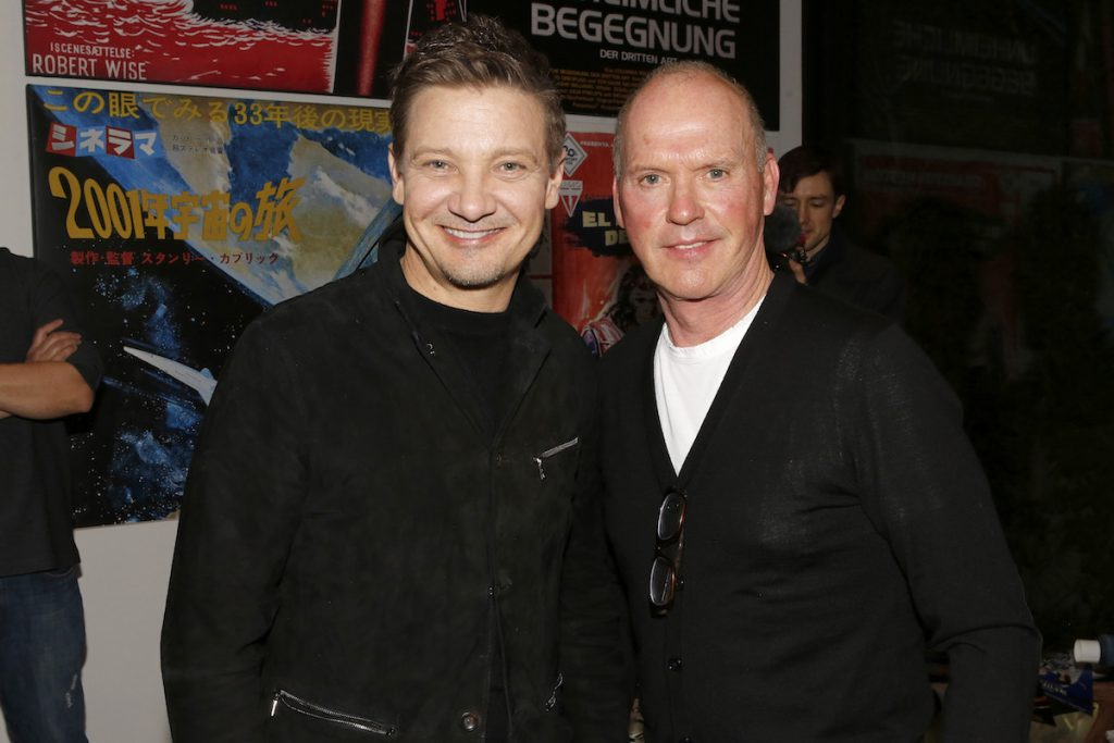 (left to right) Jeremy Renner and Michael Keaton at the Aiding Australia Charity Event. (Photo by: David Yeh)