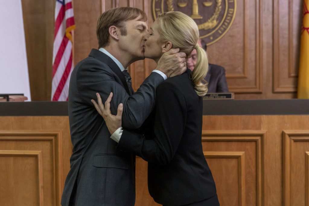 "Bob Odenkirk as Jimmy McGill, Rhea Seehorn as Kim Wexler in ""Better Call Saul"""