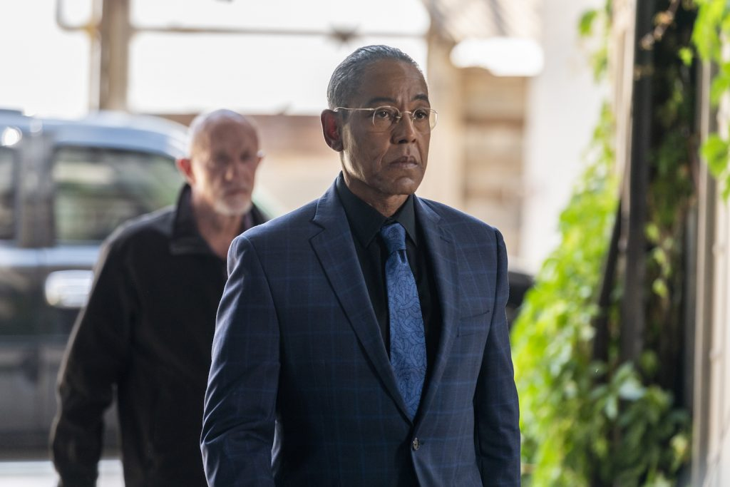 "Giancarlo Esposito as Gustavo ""Gus"" Fring, Jonathan Banks as Mike Ehrmantraut in BETTER CALL SAUL"