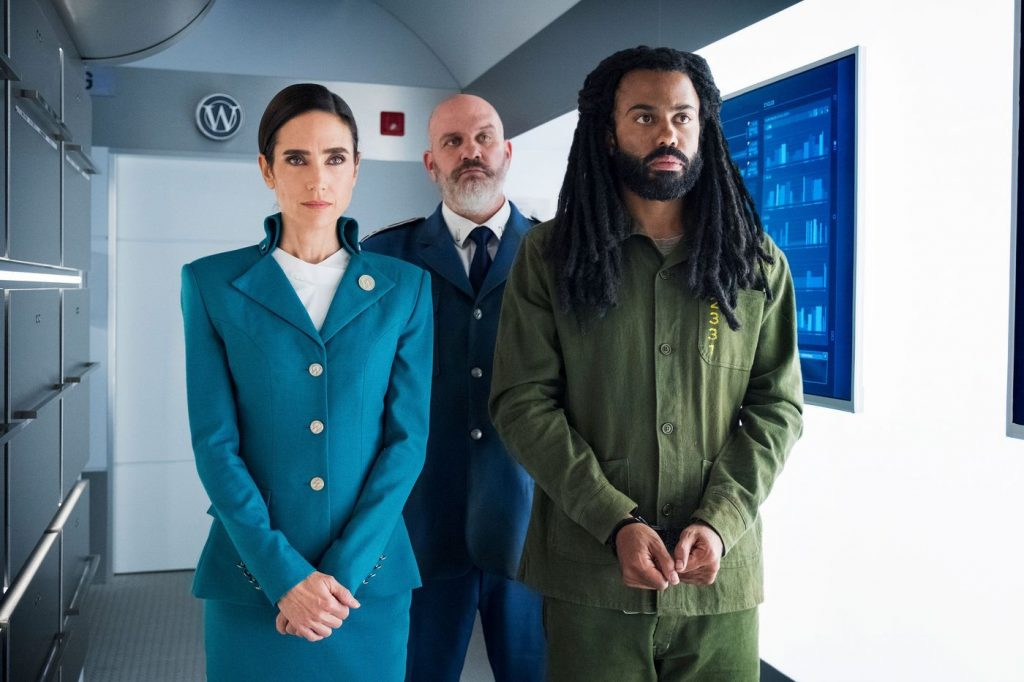 Jennifer Connelly and Daveed Diggs in SNOWPIERCER (Photo Credit: TNT)