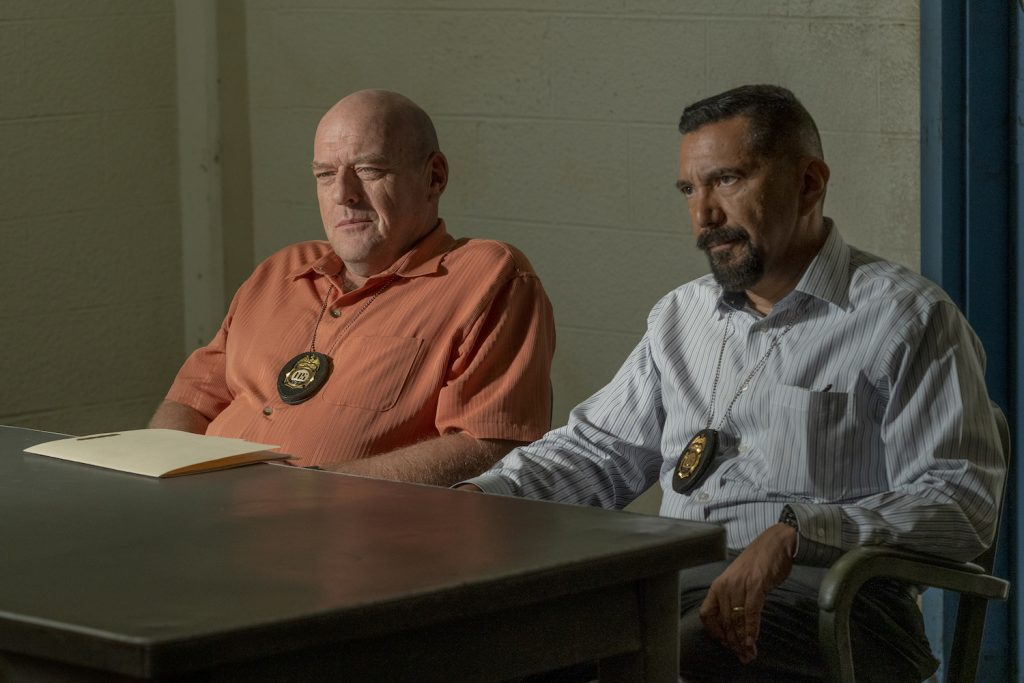 Dean Norris as Hank Schrader, Steven Michael Quezada as Steven Gomez in BETTER CALL SAUL (Photo Credit: Greg Lewis/AMC/Sony Pictures Television)