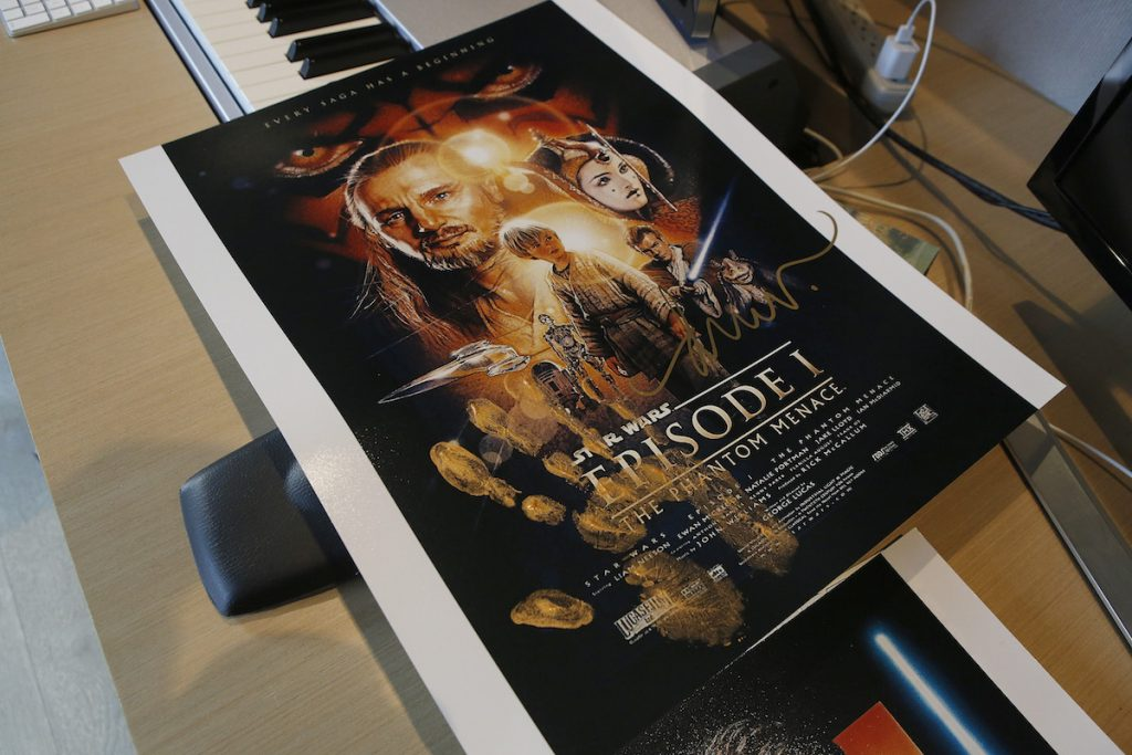 Star Wars: The Phantom Menace poster handprinted and signed by artist Drew Struzan for the Aiding Australia Benefit. (Photo by: David Yeh)