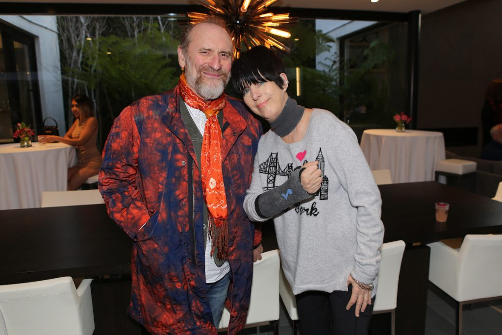 Colin Hay of 'Men at Work' and songwriter Diane Warren at the Aiding Australia Charity Event. (Photo by: David Yeh)