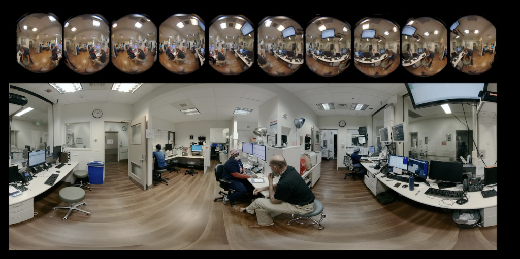 Josiah Child at nurses station, showing both the 10 ZCAM V1 lenses and final equirectangular stitch.