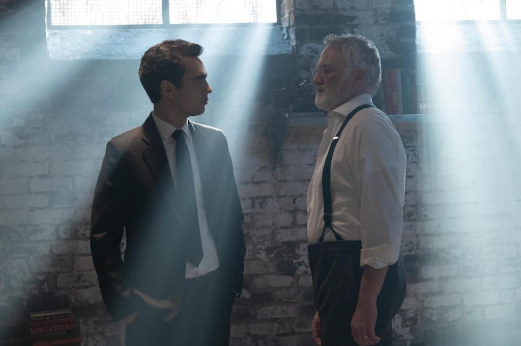 Max Minghella (Nick) and Bradley Whitford (Commander Joseph Lawrence) in Hulu's THE HANDMAID'S TALE