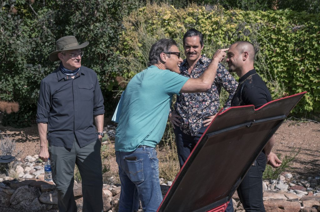 Behind-the-scenes with Executive Producer Peter Gould, Tony Dalton as Lalo Salamanca, Michael Mando as Nacho Varga, Steven Bauer as Don Eladio on BETTER CALL SAUL