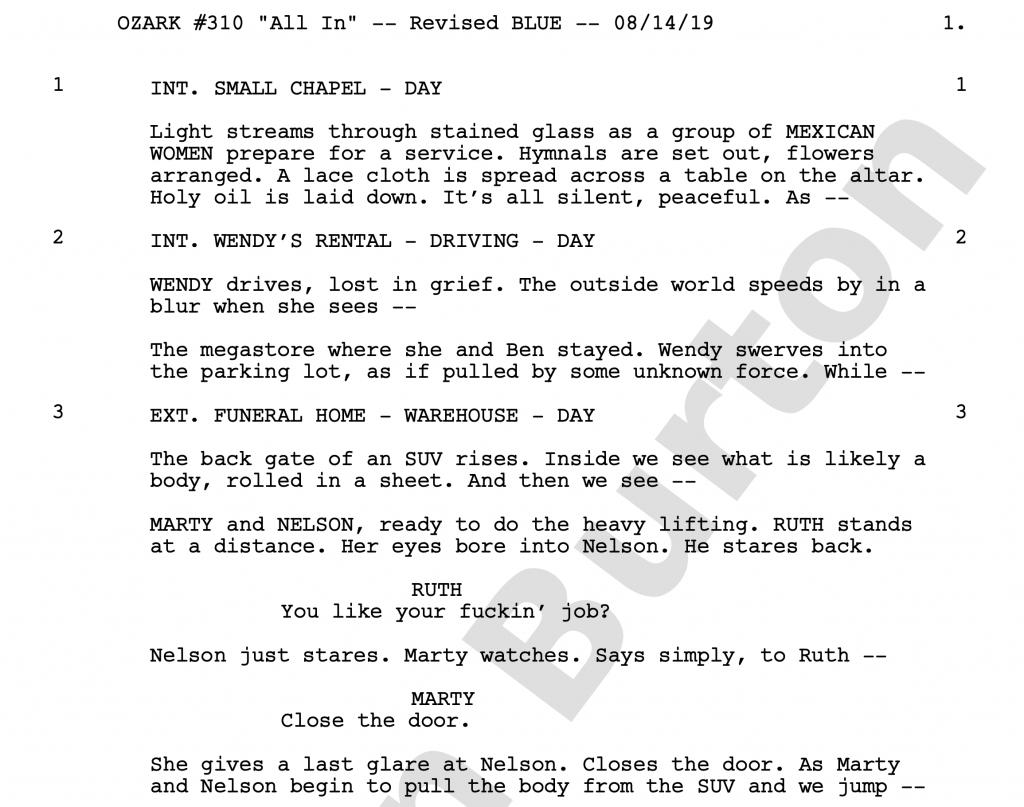 OZARK Script Example: Episode 10 incinerator conversation