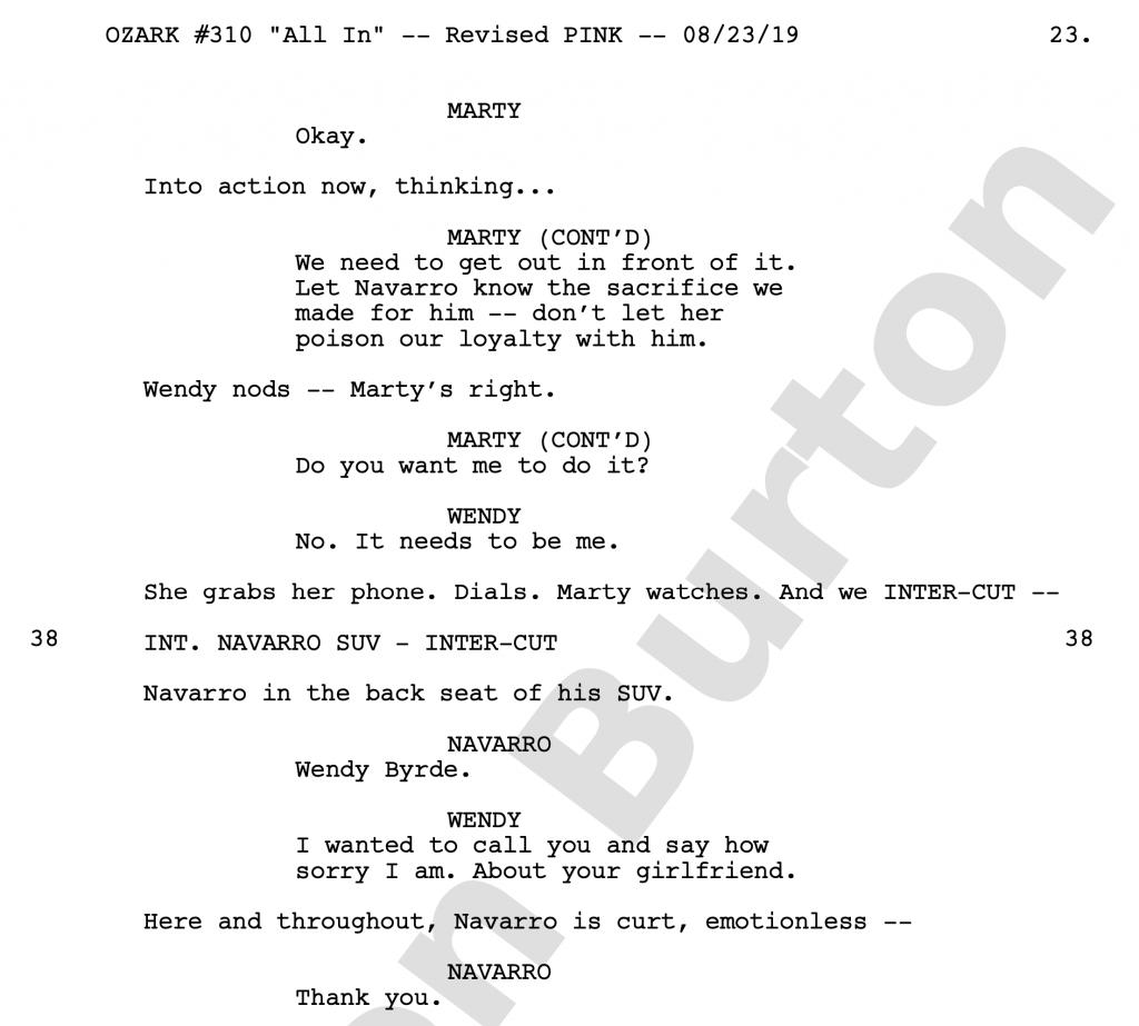 OZARK Script Example: Episode 10 family face-off