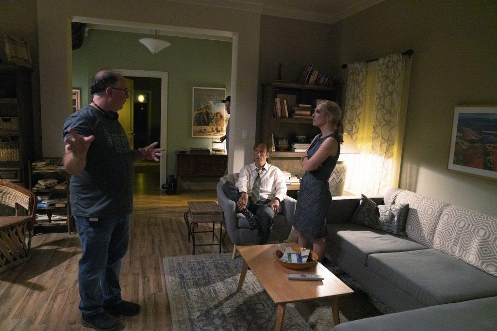 Bob Odenkirk as Jimmy McGill, Rhea Seehorn as Kim Wexler, Director Tom Schnauz on BETTER CALL SAUL