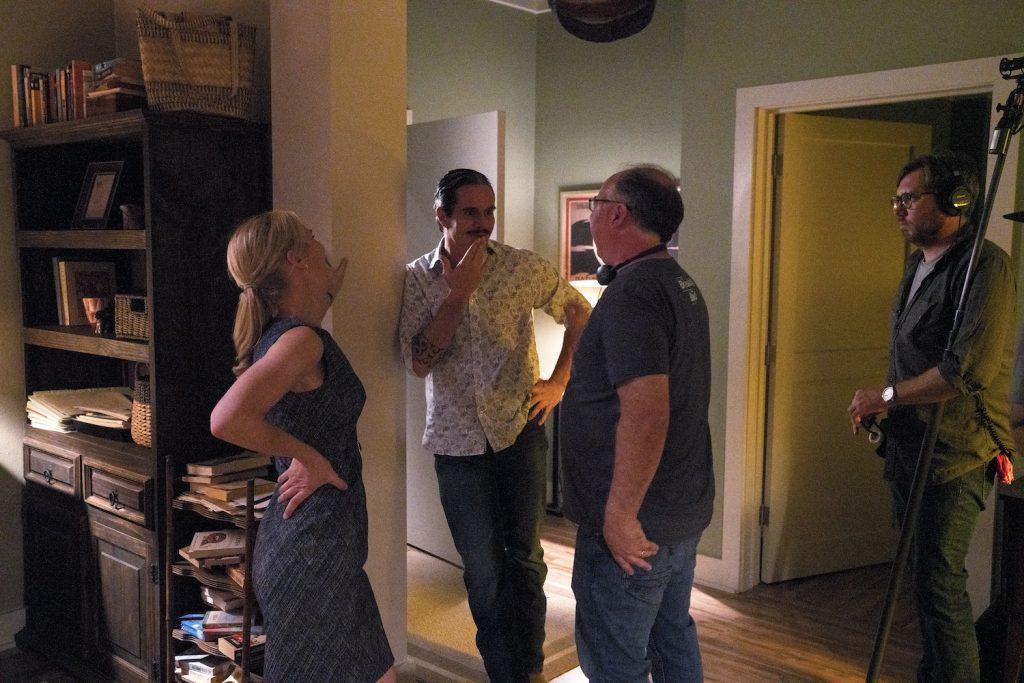 Rhea Seehorn as Kim Wexler, Tony Dalton as Lalo Salamanca, Director Tom Schnauz on the set of BETTER CALL SAUL