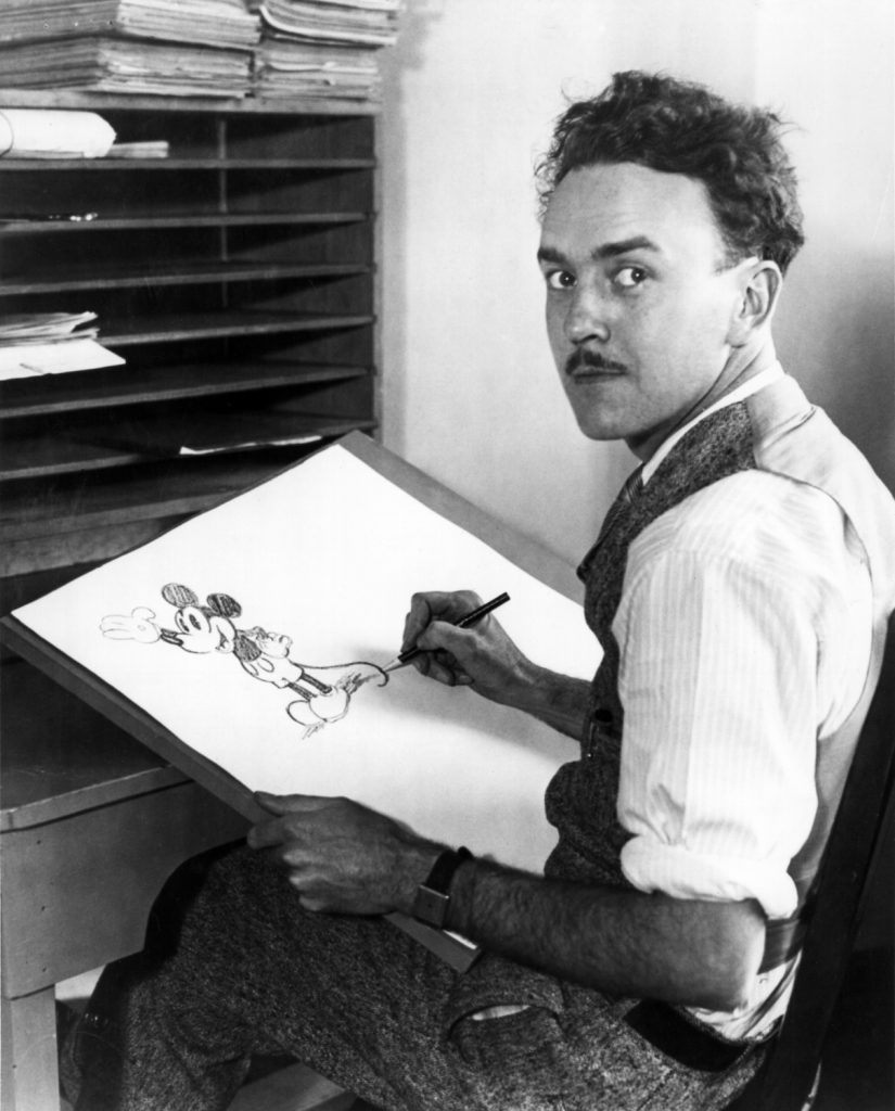 Leslie Iwerk's grandfather, Ub Iwerks, draws Mickey Mouse (ca. 1929)